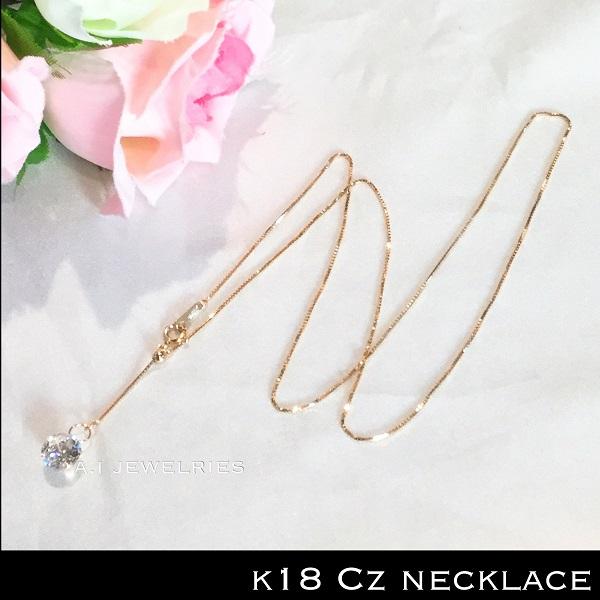 k18 18金 キュービック ジルコニア ネックレス 50cm レディース / K18 cz necklace 50cm venetian chain slide adjuster