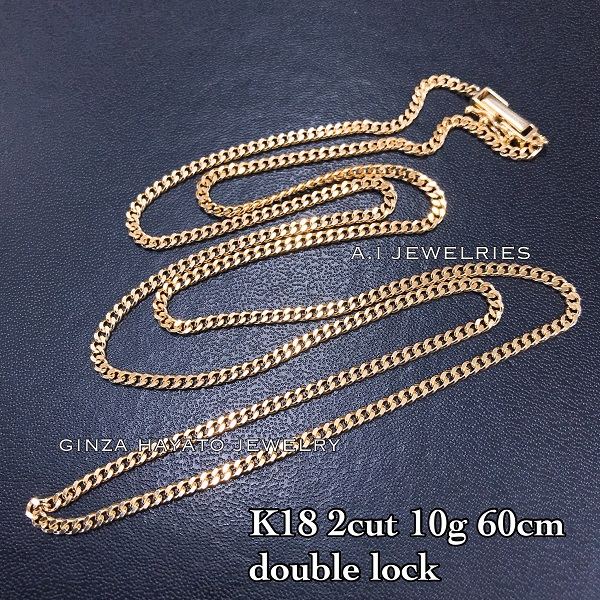 K18 18金 2面 10g 60cm 喜平 ネックレス メンズ チェーン ダブルロック necklace K18 2cut kihei necklace double lock chain