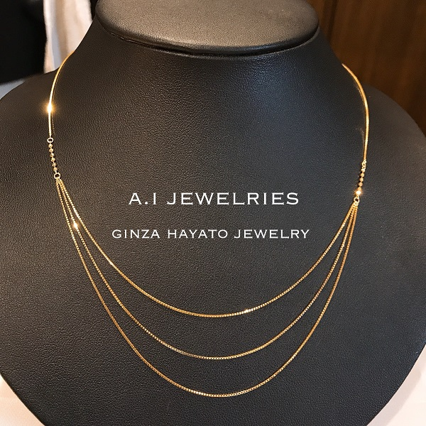 k18 18金 3連 ベネチアン チェーン ネックレス シンプル ラグジュアリー トリプル フープ チェーン K18 triple hoop chain necklace venetisn 45cm