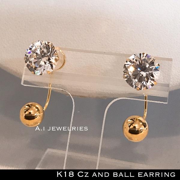 ピアス 18金 ボール キュービック ジルコニア k18 Cz 石 ピアス 6mm ボール / k18 Cz 8mm ball 6mm earring