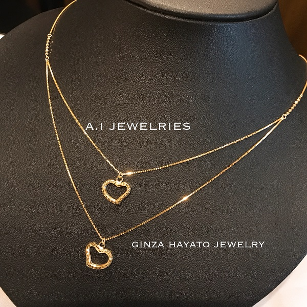 K18 18金 キラキラ カット オープンハート ベネチアン ネックレス ダブル チェーン 45cm K18 cut open heart double chain necklace venetian
