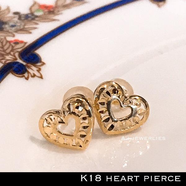 ピアス 18金 ハート k18 ハート デザイン ピアス シンプル かわいい / K18 Heart pierce simple