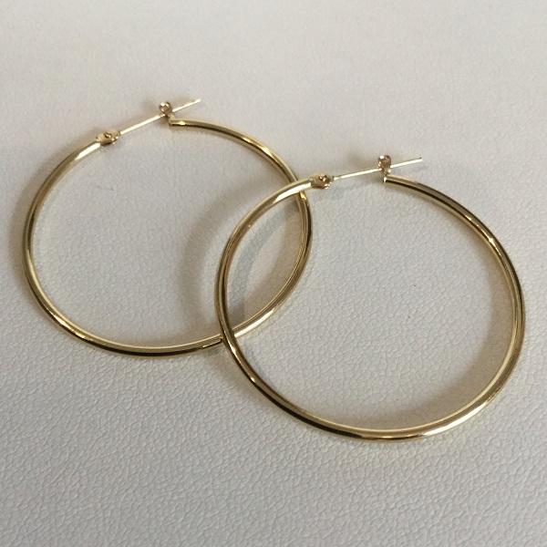 K18 1.5x35mm hoop pierce / K181.5x35mm フープピアス mens ladies 男女兼用
