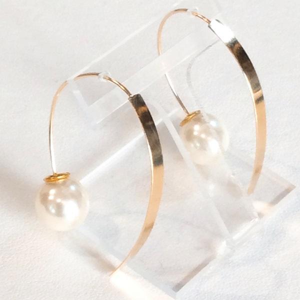 K18 フェイク パール ピアス バーデザイン 18金 fake pearl pierce bar design