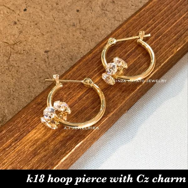 k18 18金 1.5×15mm フープ ピアス Cz チャーム付き K18 hoop with cz pierce