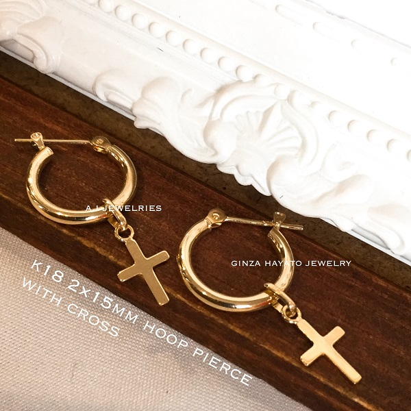k18 18金 2×15mm フープ ピアス クロス チャーム 付き K18 hoop with cross pierce