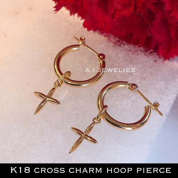 K18 クロス チャーム フープピアス 18金 cross charm hoop pierce 2×15mm hoop