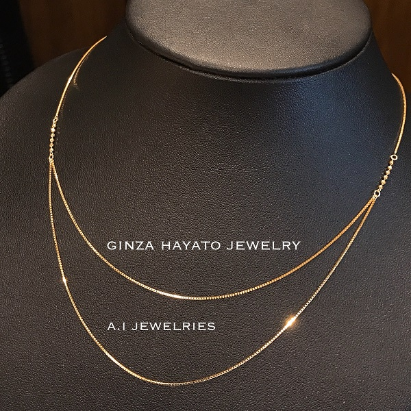 K18 18金 ダブル フープ ベネチアン ネックレス 45cm K18 double hoop necklace venetian