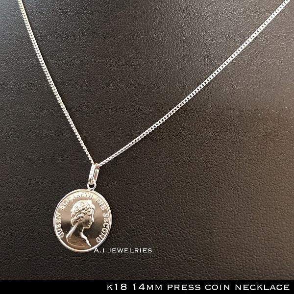 ネックレス 18金 コイン k18 プレス コイン 50cm メンズ / k18 14mm press coin necklace 50cm
