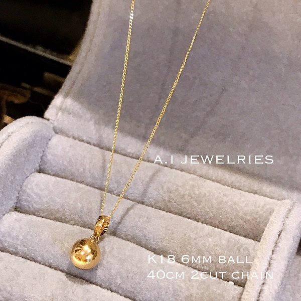 K18 6mm 丸玉 ネックレス ボール ネックレス 18金 40cm レディース ladies necklace K18 6mm ball necklace