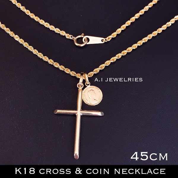 K18 ネックレス ロープ クロス コイン ダブル ペンダント 45cm mens メンズ rope necklace cross coin