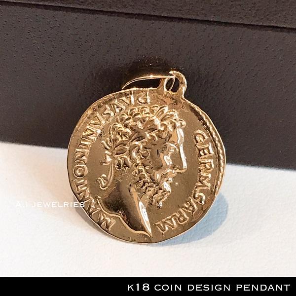 ペンダント 18金 コイン k18 金貨 デザイン ペンダント 古銭風 男女兼用 / k18 coin design pendant