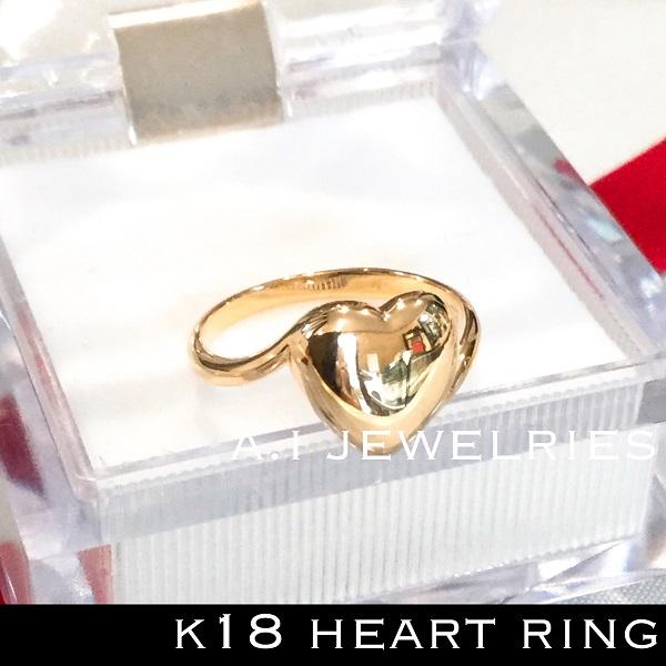 k18 18金 ハート heart リング シンプル 新品 K18 heart design ring
