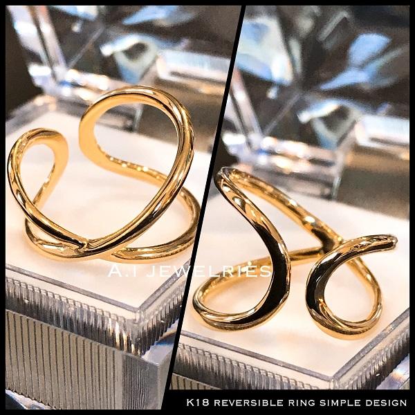 k18 18金 シンプル リバーシブル リング サイズ アジャスター #10〜12 / k18 simple reversible ring