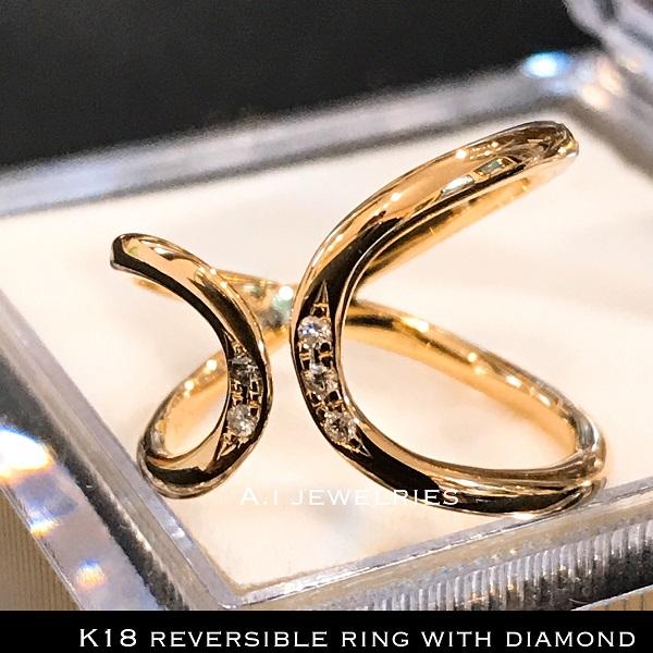 k18 18金 天然石 ダイヤモンド リング リバーシブル サイズアジャスター付き / k18 diamond ring with size AJUSTER