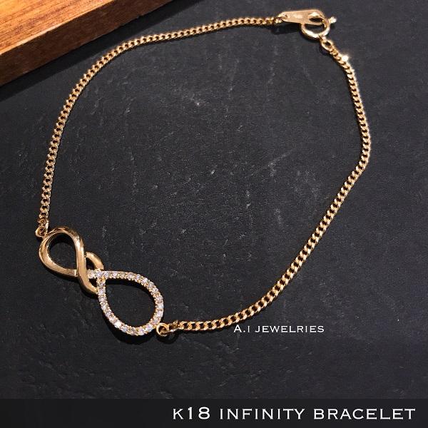 k18 18金 天然石 ダイヤモンド インフィニティ ブレスレット 18cm / k18 infinity with diamond bracelet 18cm