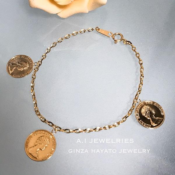 K18 18金 直径 14mm プレスコイン ブレスレット チャーム 付き 18cm K18 press coin charm bracelet