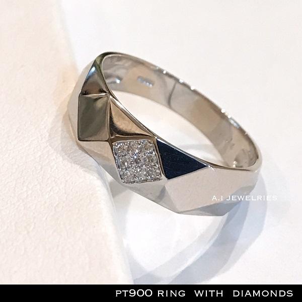 リング プラチナ ダイヤ pt900 天然ダイヤモンド付き リング /pt900 ring with diamonds