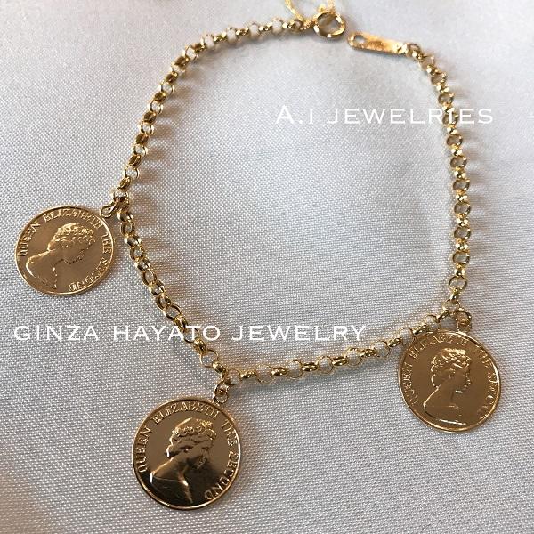 K18 18金 14mm 直径 プレスコイン bracelet ブレスレット 新品 本物 K18 press coin bracelet