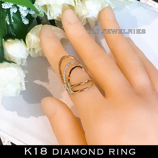 リング 18金 ダイヤ k18 天然 ダイヤモンド リング / k18 diamonds ring