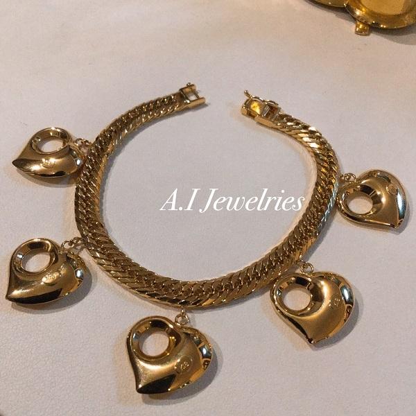 K18 ぷっくり ハート チャーム ブレスレット K18 pukkuri monaka heart charm bracelet