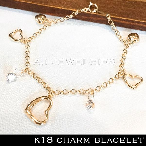 k18 18金 チャーム ブレスレット ハート オープン ハート キュービックジルコニア / k18 heart open heart cz charm blacelet