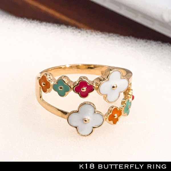 リング 18金 フラワー k18 花 カラフル リング / k18 flower ring enamel color full