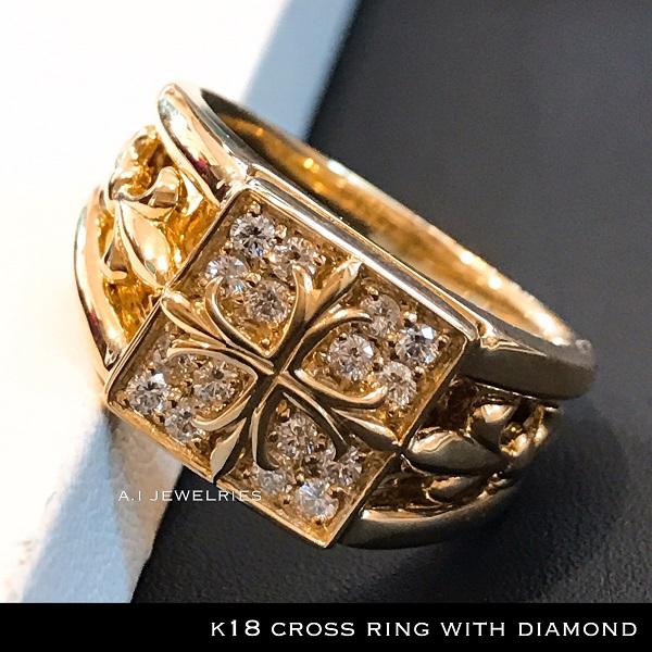 リング 18金 ダイヤ k18天然 ダイヤモンド リング クロス デザイン / k18 cross design ring with diamonds