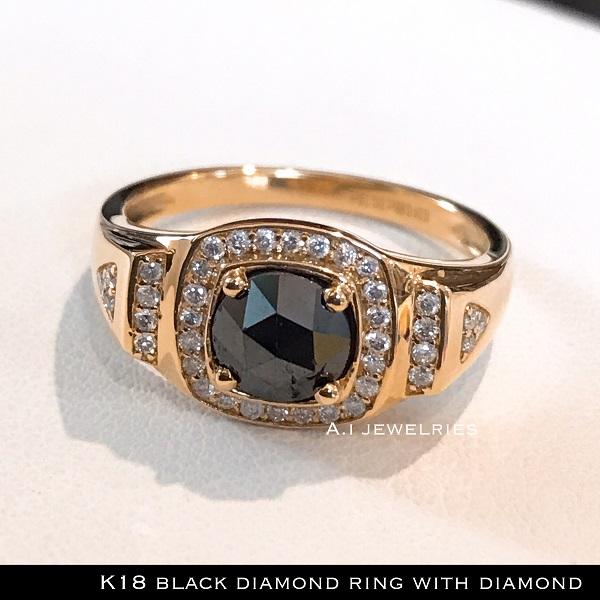 リング 18金 ダイヤ k18 天然 ブラック ダイヤモンド リング 天然石 K18 black diamond ring with diamond