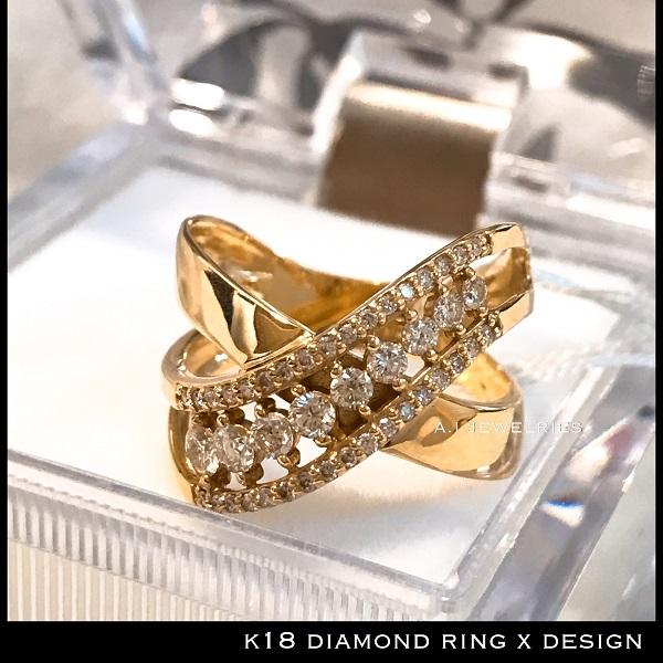 リング 18金 ダイヤ k18 天然 ダイヤモンド リング x デザイン / k18 ring with diamonds X design