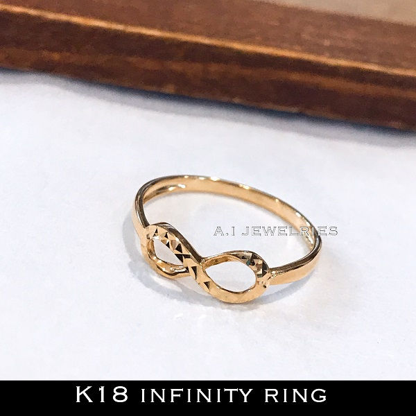 k18 インフィニティ infinity リング ring 18金 カットデザイン キラキラ K18 infinity mirror cut design ring