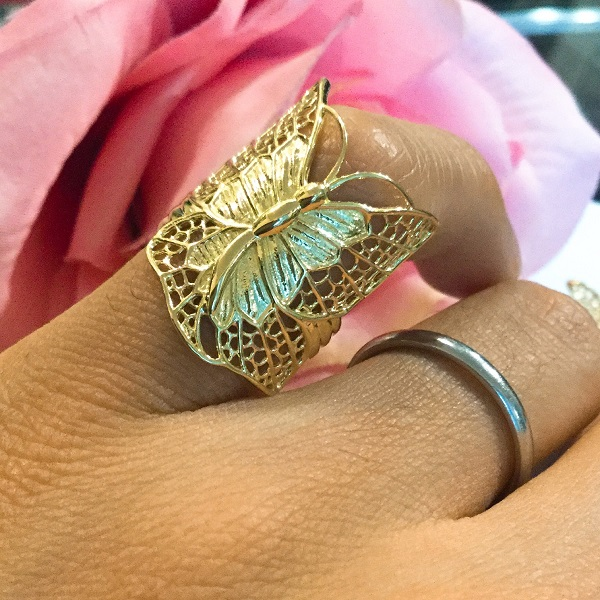 K18 18金 バタフライ リング チョウチョ K18 butterfly ring