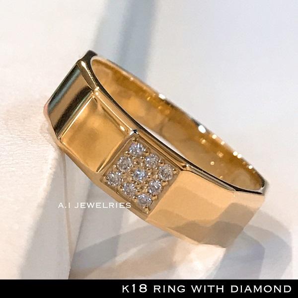 リング 18金 ダイヤ k18 天然 ダイヤモンド リング 男女兼用 / k18 diamonds ring