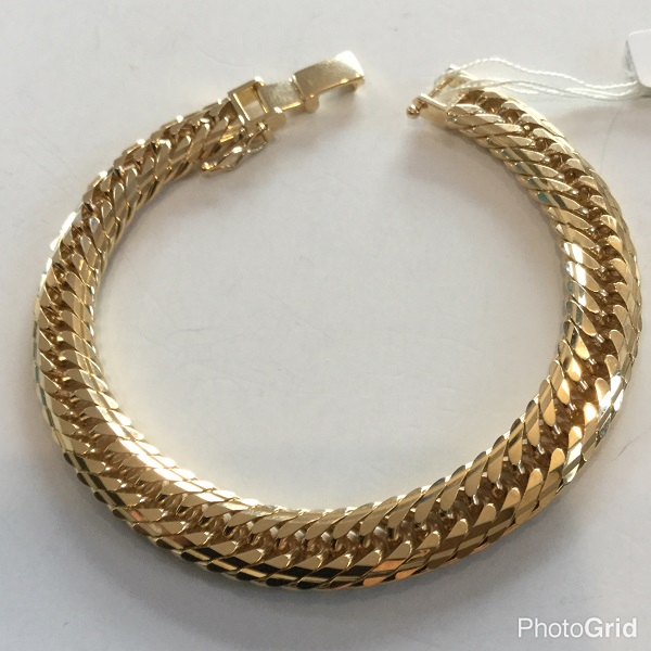 K18 30g Mcut triple 18cm ladies bracelet 18金 喜平 Mカットトリプル ブレスレット