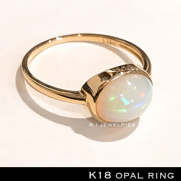 k18 18金 天然石 オパール リング / k18 opal ring