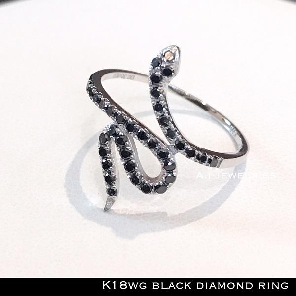 リング 18金 天然石 k18WG ブラック ダイヤ リング スネーク / k18WG black diamonds ring snake
