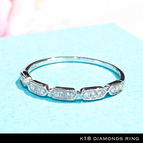 リング 18金 ダイヤモンド リング k18 天然 ダイヤモンド リング ホワイト ゴールド / k18 diamonds ring WG
