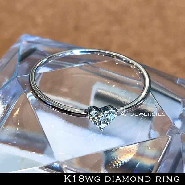 リング 18金 ハート k18 天然石 天然 ダイアモンド リング ハート / k18 diamonds heart ring