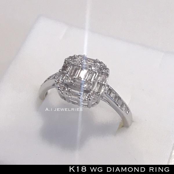 リング 18金 ホワイト ゴールド k18 WG 天然 ダイヤモンド リング / k18WG diamonds ring