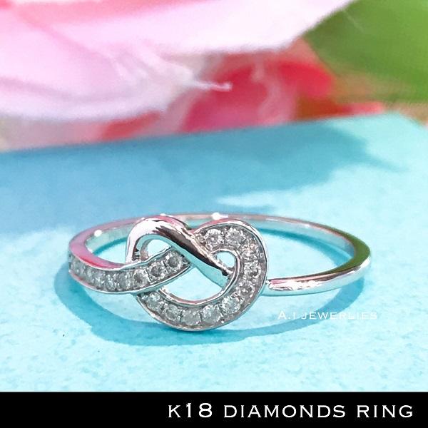 リング 18金 ダイヤ k18 天然 ダイヤモンド リング ホワイトゴールド / k18 WG diamond ring heart