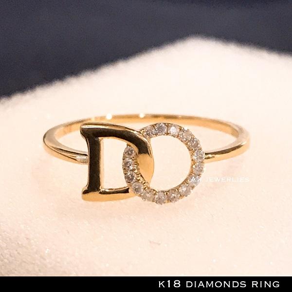 リング 18金 ダイアモンド k18 天然 ダイアモンド リング 文字 細め / k18 diamonds ring