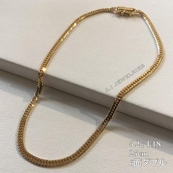 K18 5g 6cut double 23cm anklet / K18 6面ダブル 23cm アンクレッ