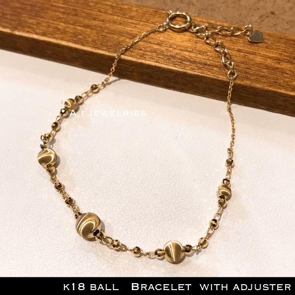 ブレスレット 18金 ボール k18 ボール ブレスレット アジャスターつき 15-18cm / k18 ball bracelet 15-18cm