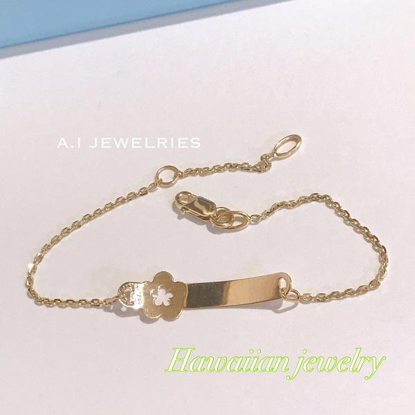 ハワイアンジュエリー ブレスレット バー K14 プルメリア bracelet 14金 bracelet hawaiian jewelry