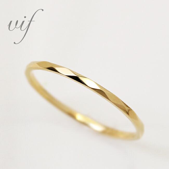 安心と信頼 vif-ヴィフ- 商品 シリーズキラキラと優しいゴールドが煌めくカットリング 銀座に実店舗あり K18 カット 地金リング 1号~15号 特別価格 指輪 1 送料無料