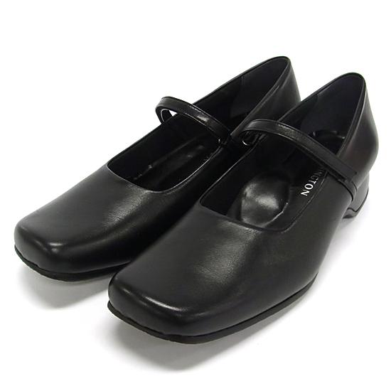WASHINGTON 好評楽々フィット感甲ベルト 銀座ワシントン パンプス ストラップ 歩きやすい 甲深 柔らかい レディース 黒 ブラック