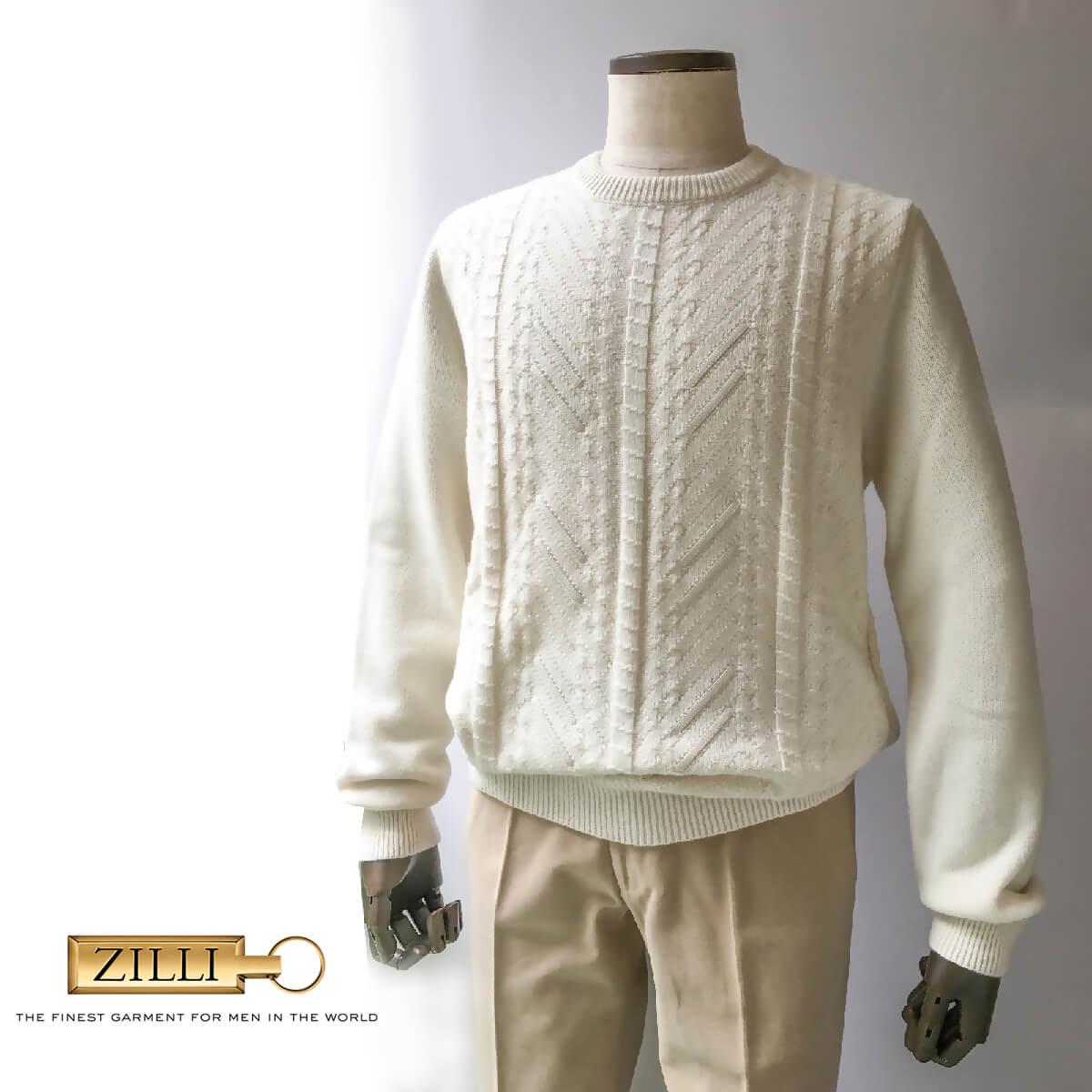 ZILLI (ジリー)ニット セーター メンズ ブランド 高級 ZILLI ジリー カシミヤ レザー