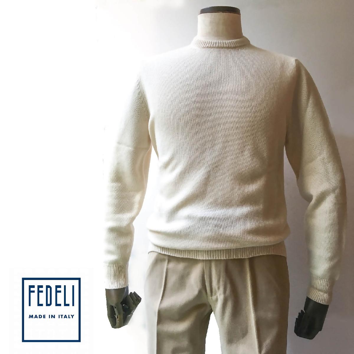 FEDELI (フェデーリ) 2プライカシミヤニットクルーネックセーター アイボリー メンズ ブランド ニット セーター 無地 長袖