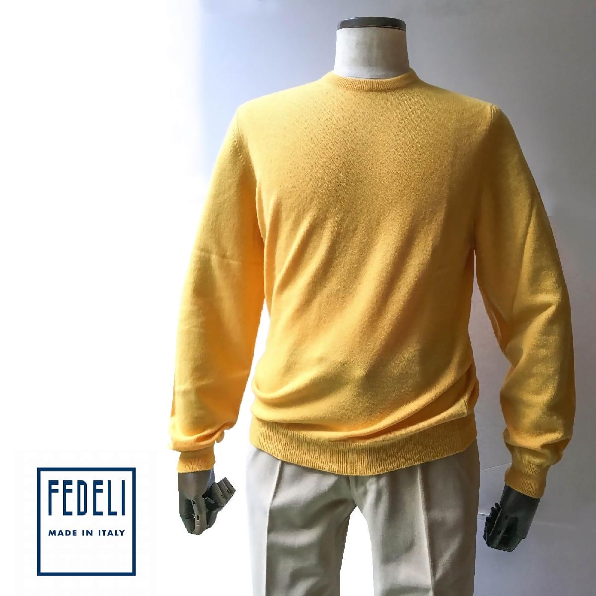 FEDELI (フェデーリ) カシミヤニットセーター イエロー メンズ ブランド クルーネック 長袖 大きいサイズ 無地