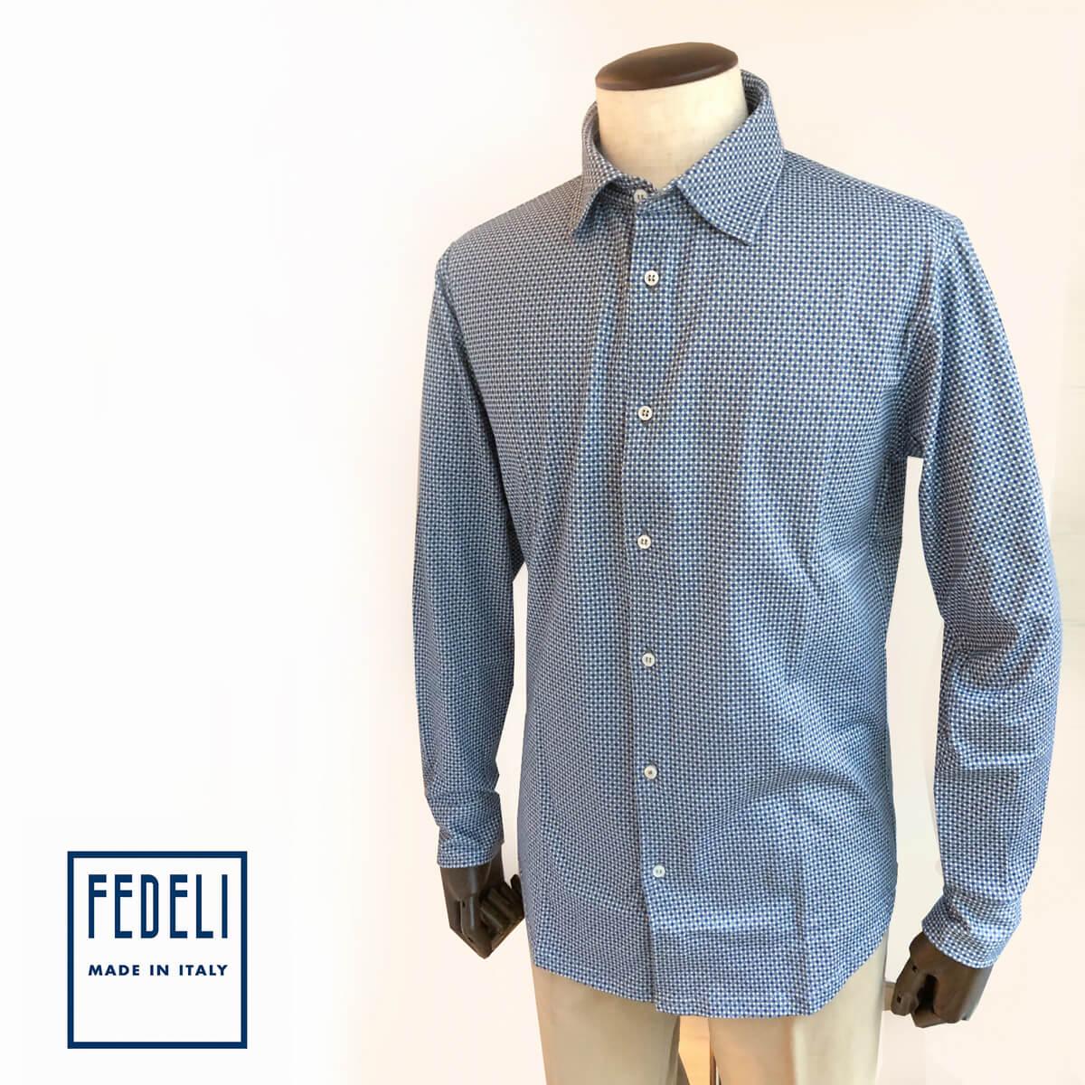 FEDELI (フェデーリ) GIZA45コットンジャージシャツ ブランド メンズ シャツ カジュアル ブルーベージュ エジプト綿 おしゃれ